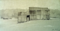 "Patched Barn, Inlet Valley, pencil/chalk, 7""x12"""