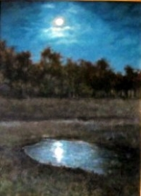 "Moonlight on Thistle Pond, oil on canvas,18""x14"""