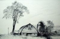 "Tokaido#37, ""Elm and Barn on Rte.206"", ballpoint pen, 12""x18"""